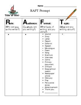 R.A.F.T. Writing Prompt | Texts, Teaching and Creative