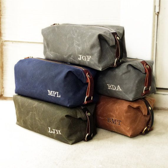 e38dee6c048 Groomsmen Gift, Personalized Men s Toiletry Bags, Embroidered Monogram,  Waxed Cotton Canvas and Leather Dopp Kit, Handmade on Etsy,  89.00