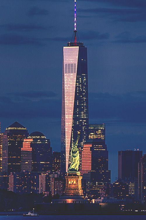 1WTC & Lady Liberty In New York Bycityneonlights