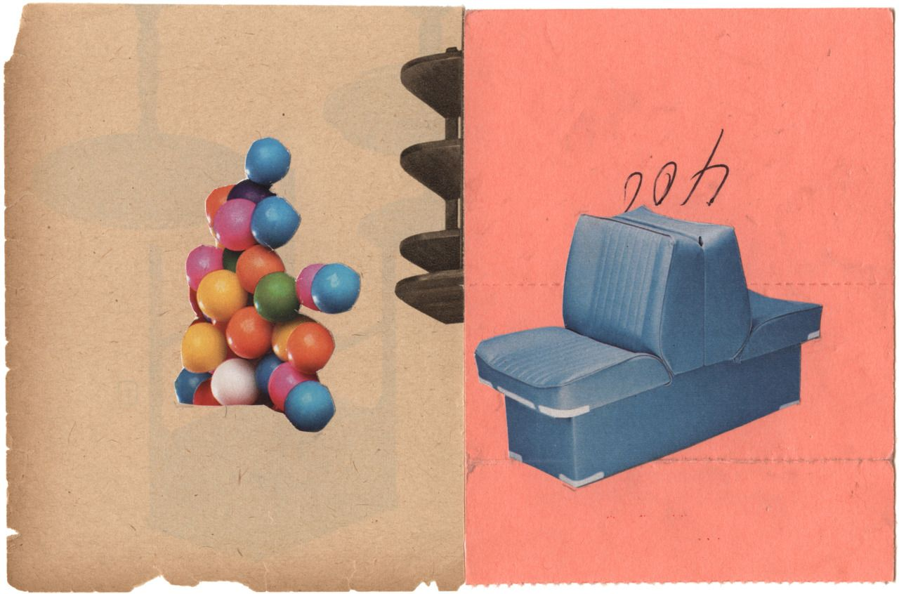 cute collage by john gall. love the coral color.