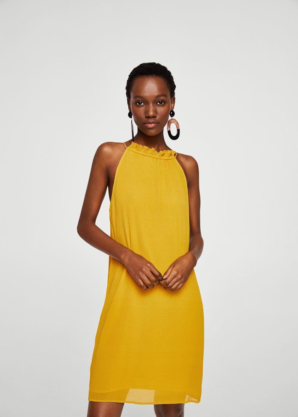 Textured Ruffled Dress Women Mango Usa Moda Stilleri The Dress Kisa Elbiseler