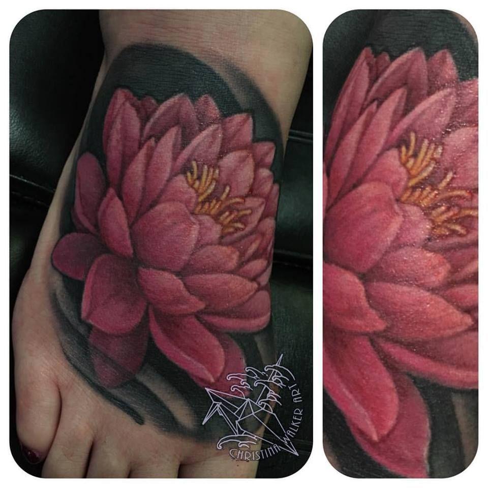 Lotus Flower Foot Tattoo By Christina Walker Luckybambootattoo