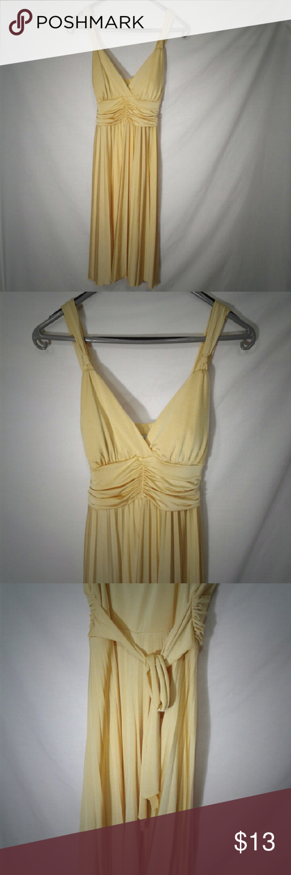 """Yellow Dress by Speechless Measurements: 40"""" shoulder to hem  14"""" waist lying flat   Material: Self: 94% polyester 6% spandex  Lining: 100% polyester   Condition: Excellent, no stains or rips   🛍 Bundle for a 20% discount 🛍 👍 Offers Considered 👍 ❌ No Model ❌ Speechless Dresses Midi"""
