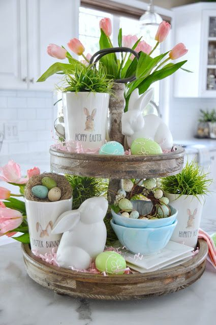 95 Appealing And Unique Easter Home Decorating Ideas In 2020 Easter Centerpieces Tray Decor Tiered Tray Decor