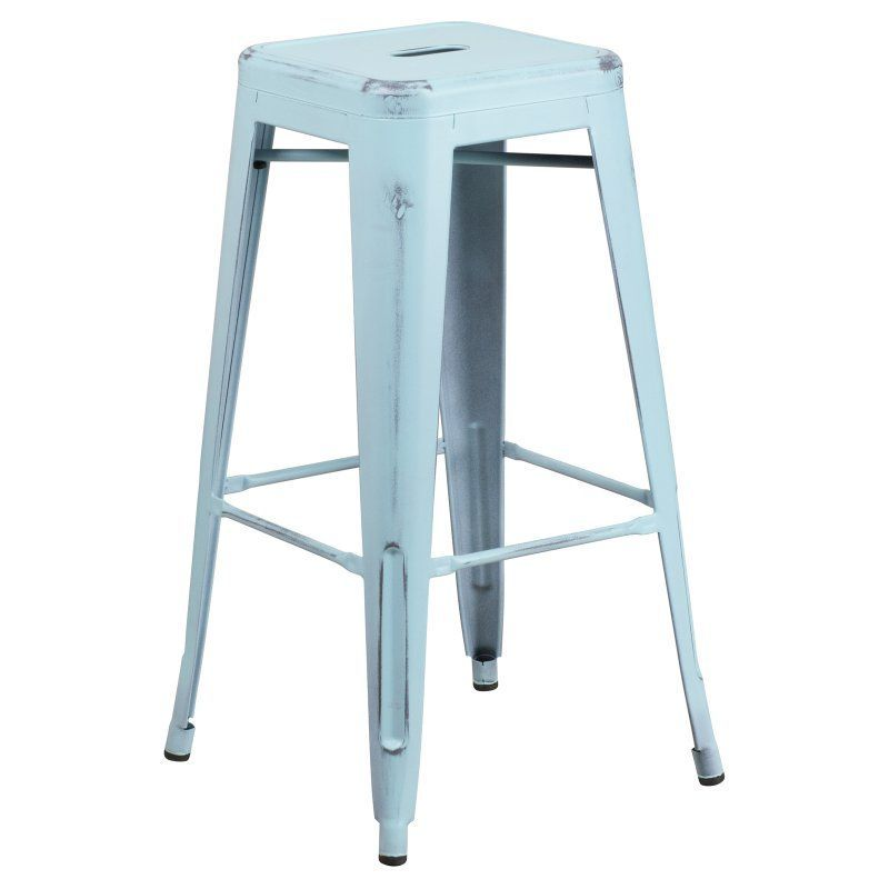 Flash Furniture 30 in. Square Backless Distressed Metal Indoor-Outdoor Bar Stool Light Blue - ET-BT3503-30-DB-GG