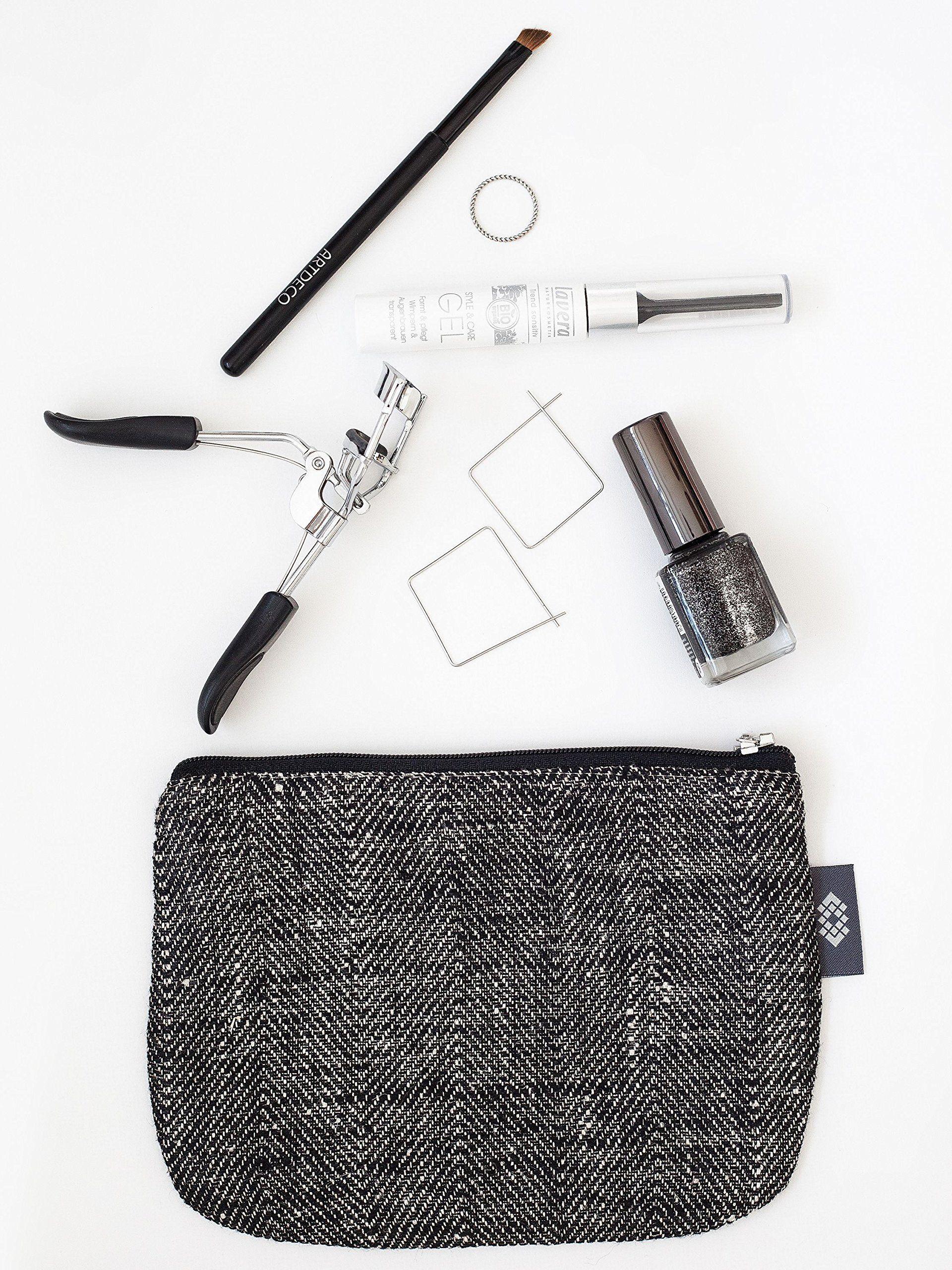 43d59723aef06 Kleine Schwarze Leinwand Kosmetiktasche - Doppellagige 100 Leinen -  Kupplung - Geldbeutel - Taschen und Portemonnaies