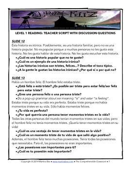 SOMOS Spanish 2 Unit 8: El hombre feliz short film lesson