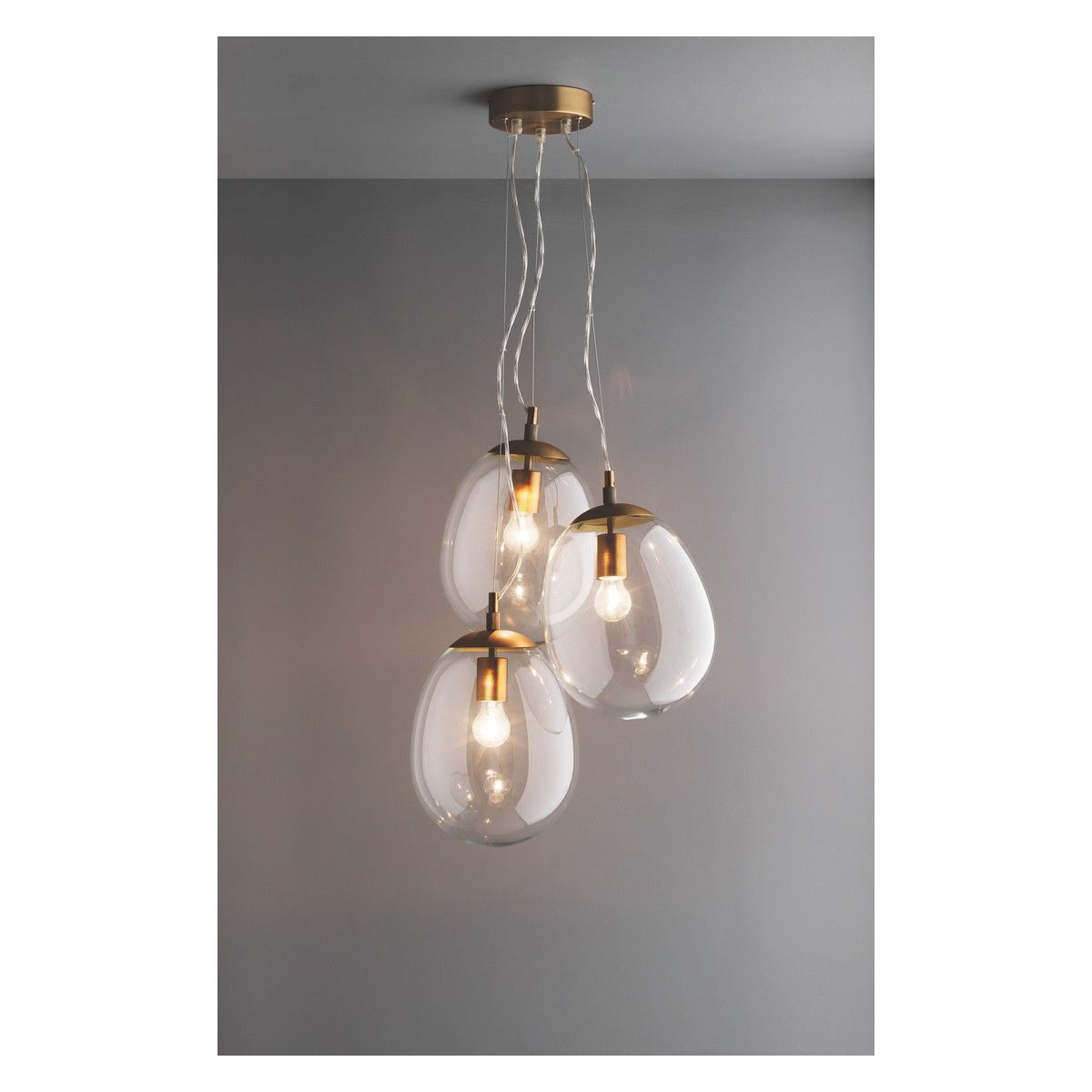Bulle clear glass triple drop ceiling light dropped ceiling designed by and exclusive to habitat the beautiful bulle clear glass triple drop ceiling light has a pleasingly organic shape and luxurious brass fittings arubaitofo Images