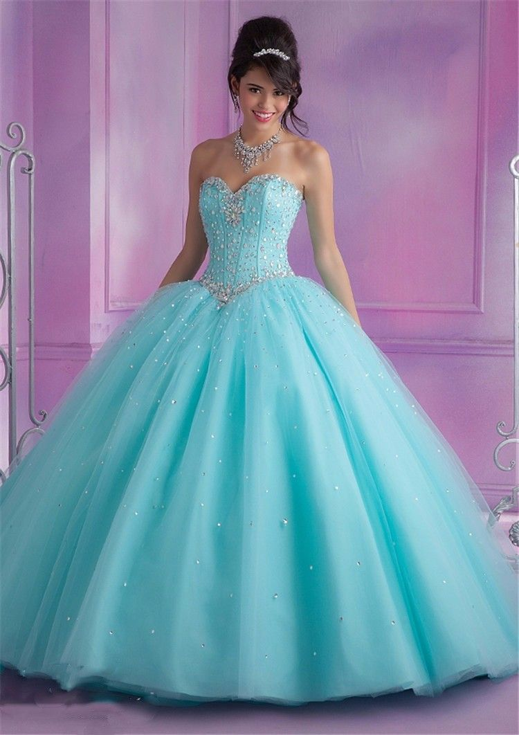 f48b146359b7 2017 Mint Blue Quinceanera Dresses Ball Gown With Beads Cheap ...
