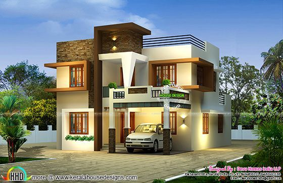 Contemporary East Facing House Plan In 2020 Kerala House Design