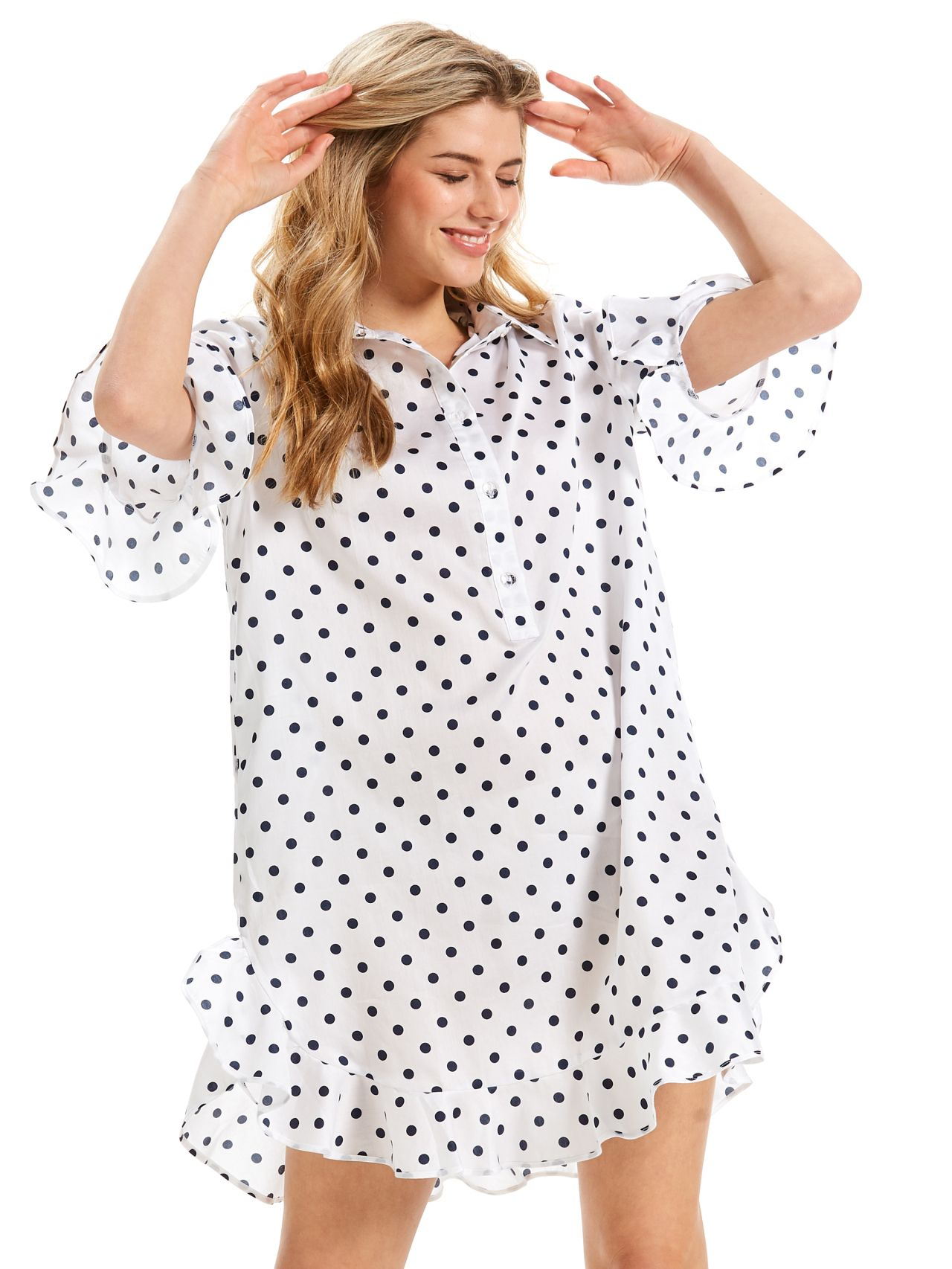 Spot Ruffle Nightshirt Peter Alexander Womens nighties