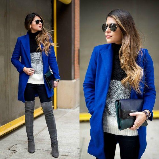 Sheinside Cobalt Coat, Sheinside Colorblock Sweater
