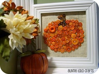 Pumpkin Button Art – Do you have any old picture frames laying around that need to be rehabbed? How about some burlap with buttons sewn by jeri