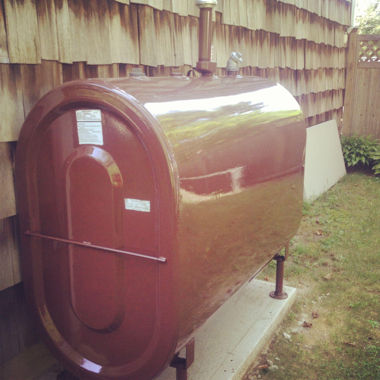 Painted 275 Gallon Oil Tank Above Ground Outdoor Decor Installation Decor