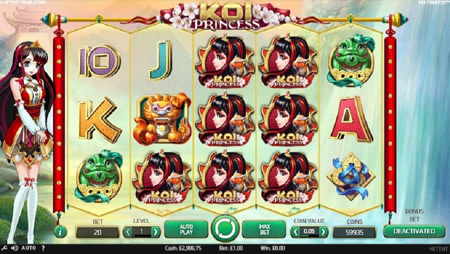Koi Princess Spilleautomat - Koi Princess er den nyeste spilleautomat fra NetEnt. Spilleautomaten var lansert 24 november 2015 på de fleste norske online kasinoer med mange gratis spinn på Spilleautomater.nu.