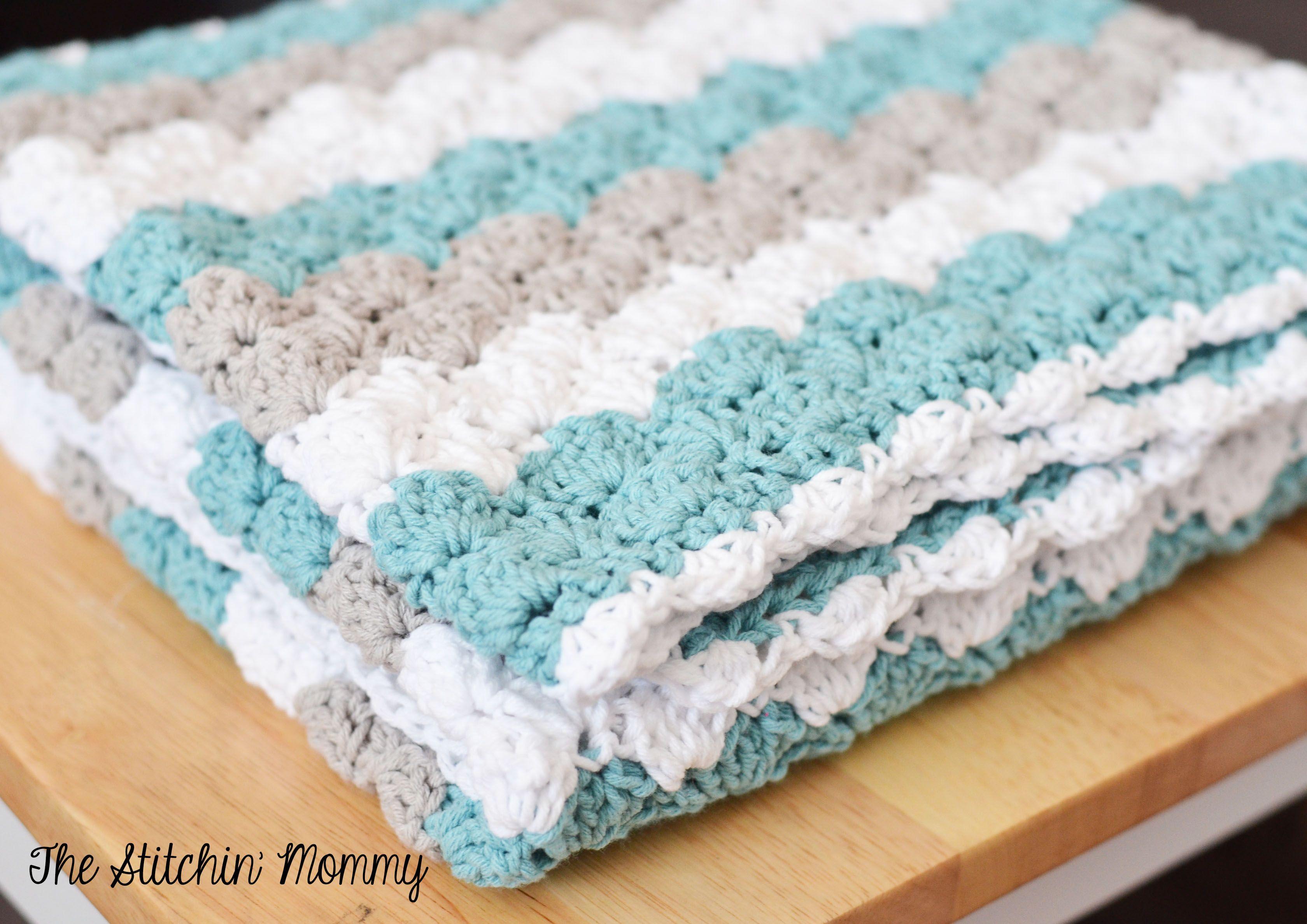 Shell Stitch Baby Blanket - Free Pattern | Concha puntada de ...