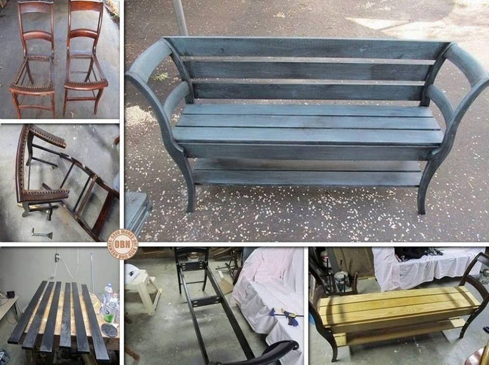 2 alte Stühle tun sich zusammen und verbringen nun als Bank ihr - massive holzbank selber bauen
