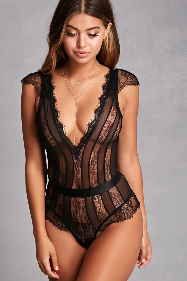 14a0c9edc This two-piece lingerie set from Oh La La Cheri™ features a sheer lace  paneled teddy with a V-neckline