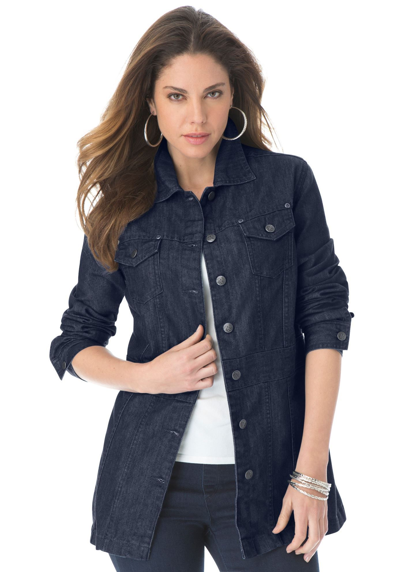 Plus Size Long Jean Jacket |  size fashion | Pinterest | Jackets ...