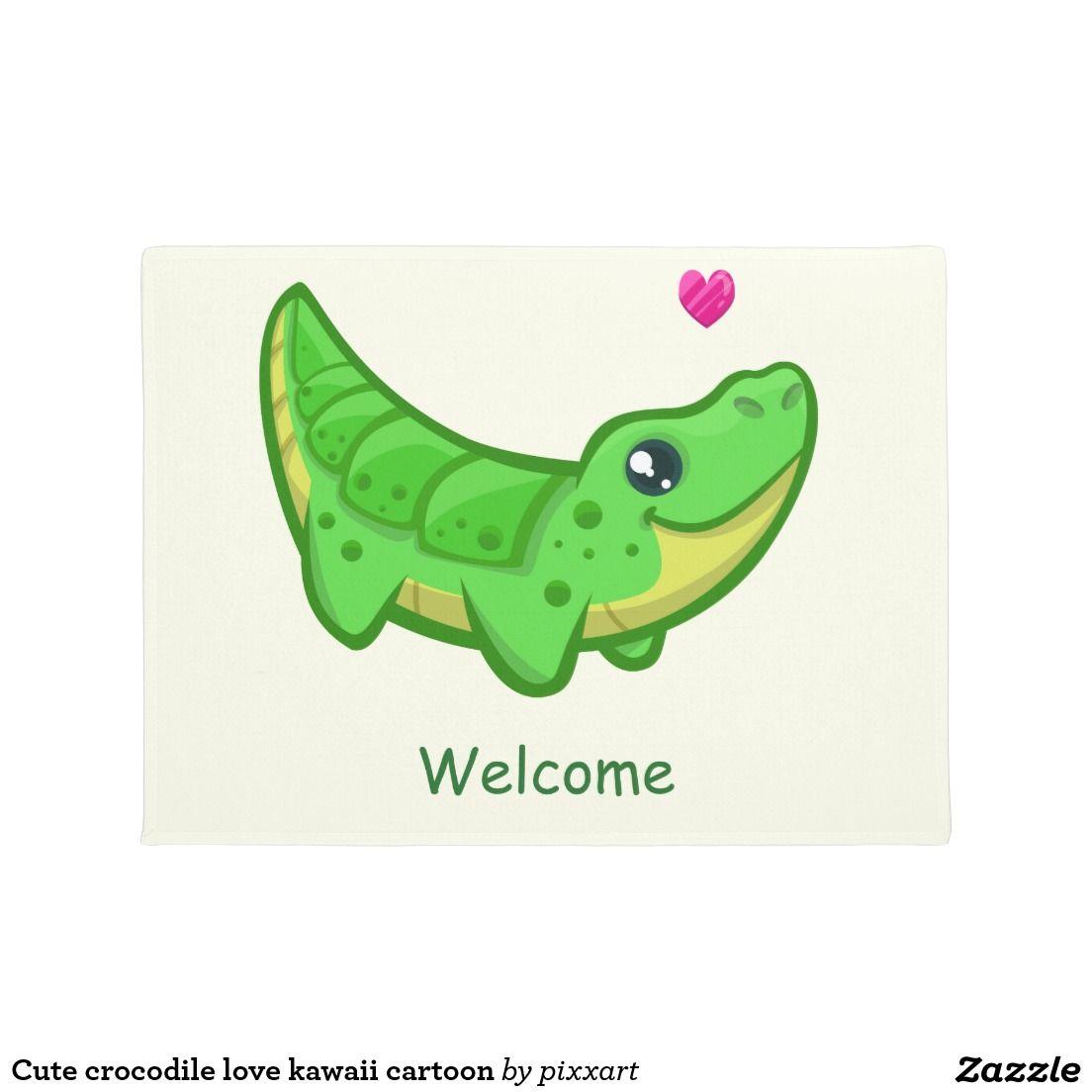 Cute Crocodile Love Kawaii Cartoon Doormat Doormat