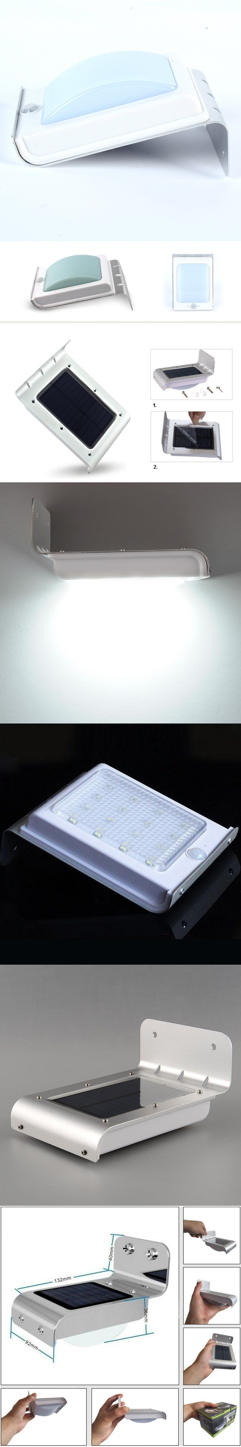 16 Led Sensor Lamp Waterproof Wall Lights Lamps With Solar Power Lantern Dimmer Flasher Outdoor White