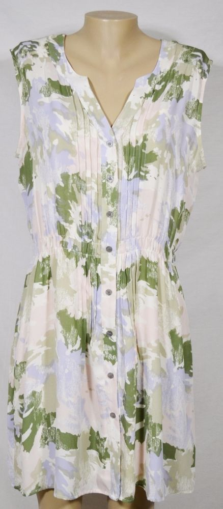 I HEART RONSON White/Beige/Lavender/Green Patterned Sleeveless Dress XL Lined #IHeartRonson #ShirtDress #Casual