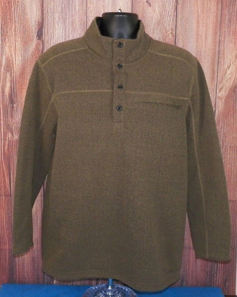 ExOfficio Men's Brown Long Sleeve 1/4 Button Down Fleece Pullover ...
