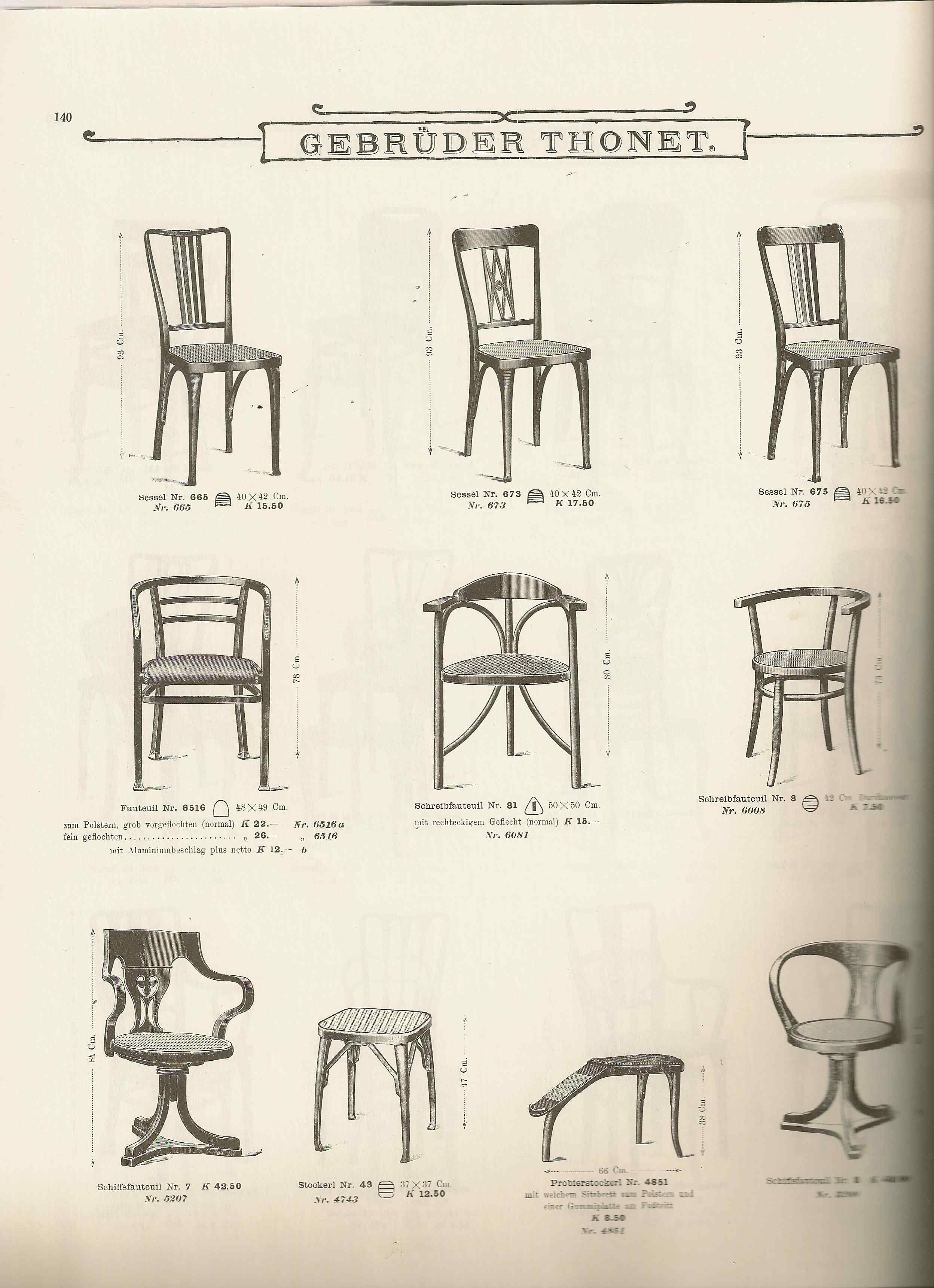 A page from the 1904 Gebrder Thonet Catalog including