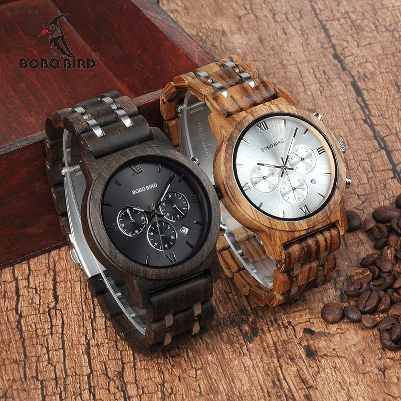 Relojes de madera para hombre de lujo de acero inoxidable reloj de madera para hombre cronógrafo relojes de cuarzo