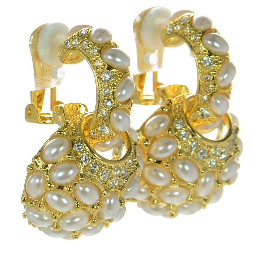 Kenneth J Lane KJL Gold-tone Pearl Hoop Earrings w/ Charm #KennethJayLane #Hoop