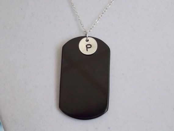 Silver Black Onyx Dog Tag with Initial Necklace by treasuredheros1, $26.00 Great for military families..