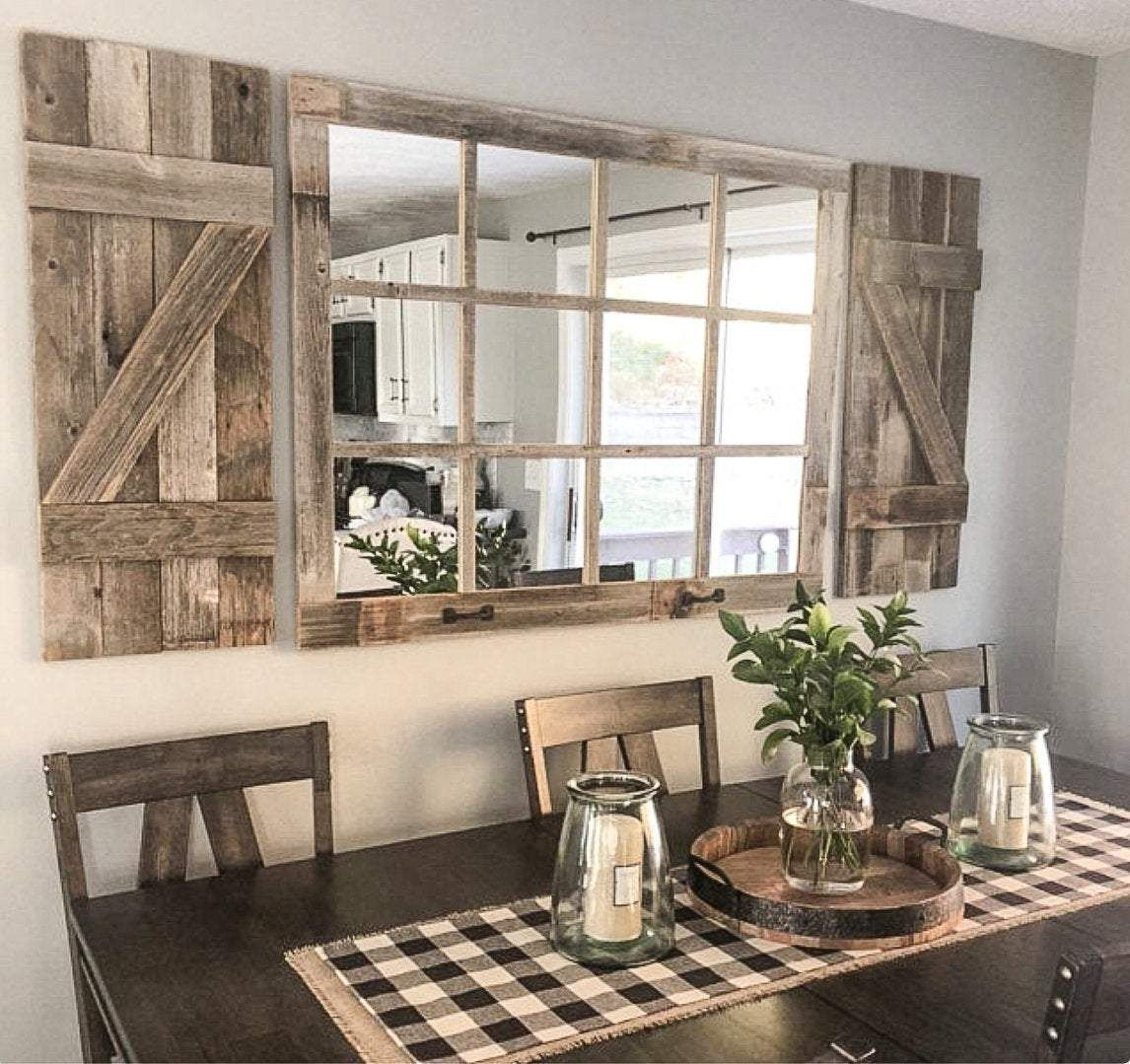 Large Farmhouse Wall Decor Mirror In 2020 Farm House Living Room Farmhouse Dining Room Farmhouse Decor Living Room