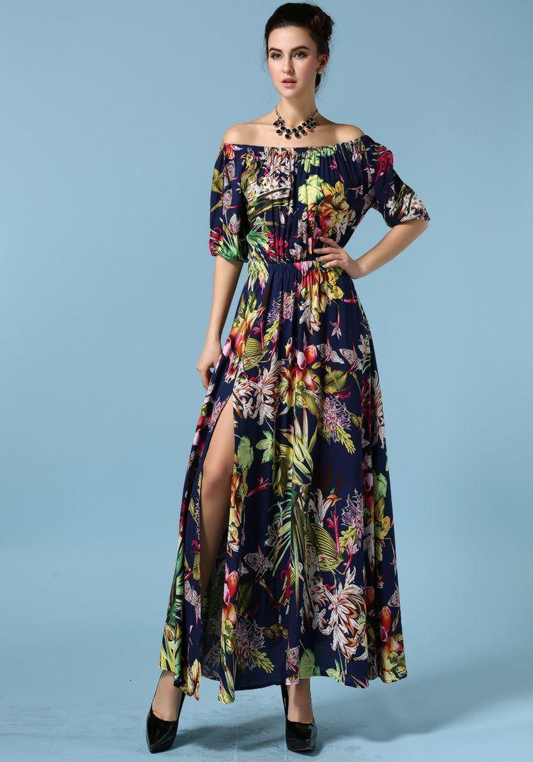 Royal blue boat neck floral split dress sheinside first