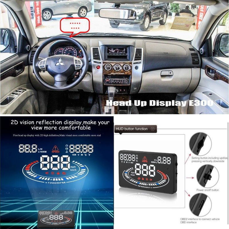 car hud head up display for mitsubishi pajero sport safe driving screen projector travel data. Black Bedroom Furniture Sets. Home Design Ideas