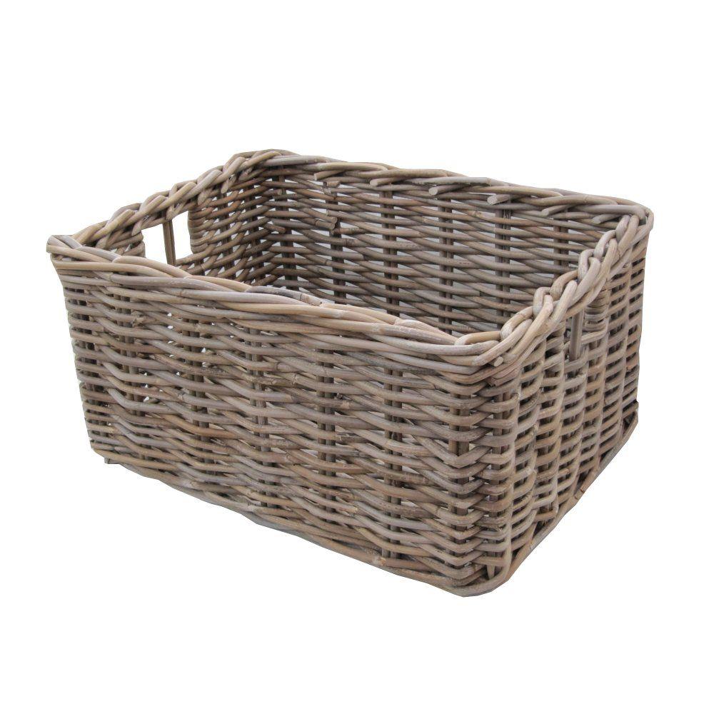 Home underbed storage baskets wicker underbed storage basket - Rectangular Grey Buff Rattan Deep Wicker Storage Basket In Home Furniture Diy Storage Solutions Storage Baskets