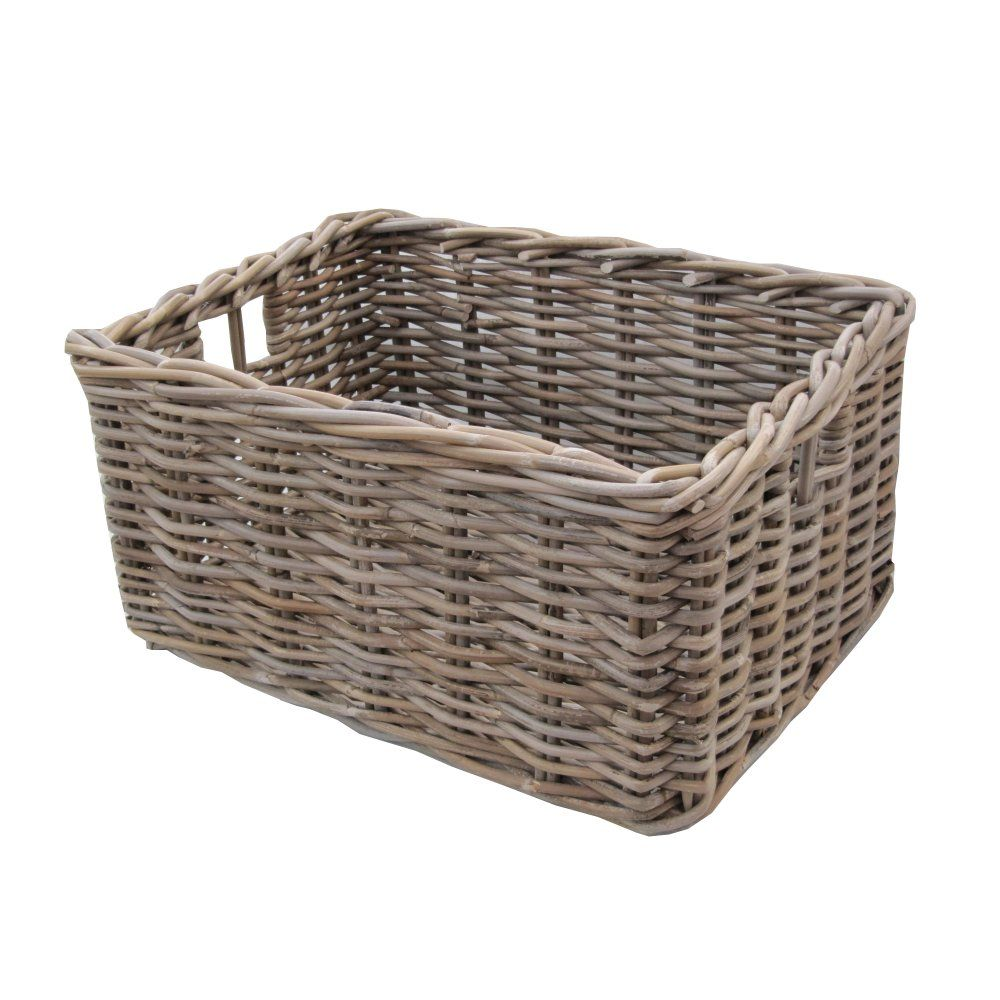 Nice Rectangular Grey U0026 Buff Rattan Deep Storage Baskets