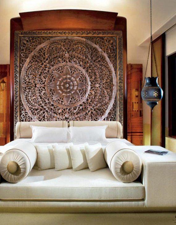 Extra Large King Bed Headboard 72 6ft Decorative Lotus Flower Wooden Hand Craved Craving Teak Wood