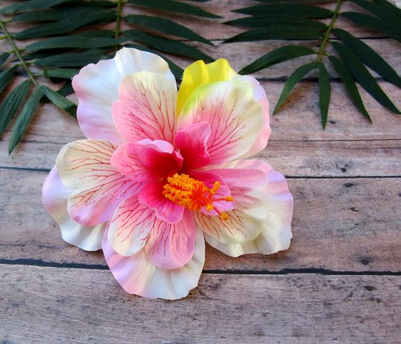 Pink And White Hibiscus Hair Clip Pinup Tropical Hair Clip Hawaiian Hair Clip White Hibiscus Hawaiian Hairstyles Hair Clips