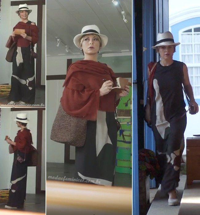 """Look passeio, vestido longo com chapéu da Helô em """"A Lei do Amor"""""""