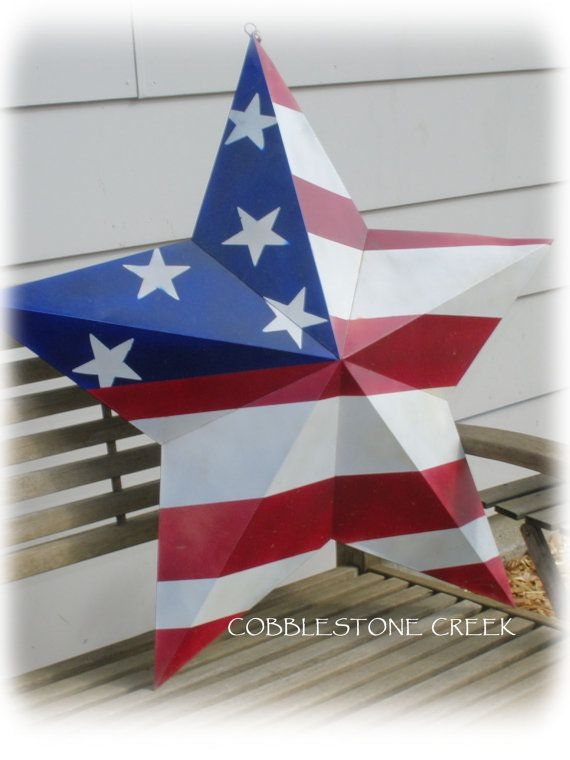 30 Metal Star Red White Blue Hand Painted By Cobblestonecreek 35 00 Americana Crafts 4th July Crafts Patriotic Decorations
