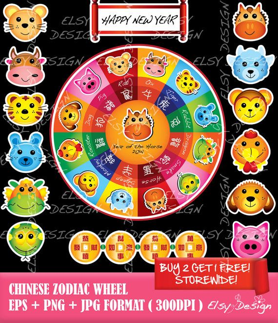 Chinese Zodiac Wheel Clip Art by ElsyDesign on Etsy, $5.00 | Chinese ...
