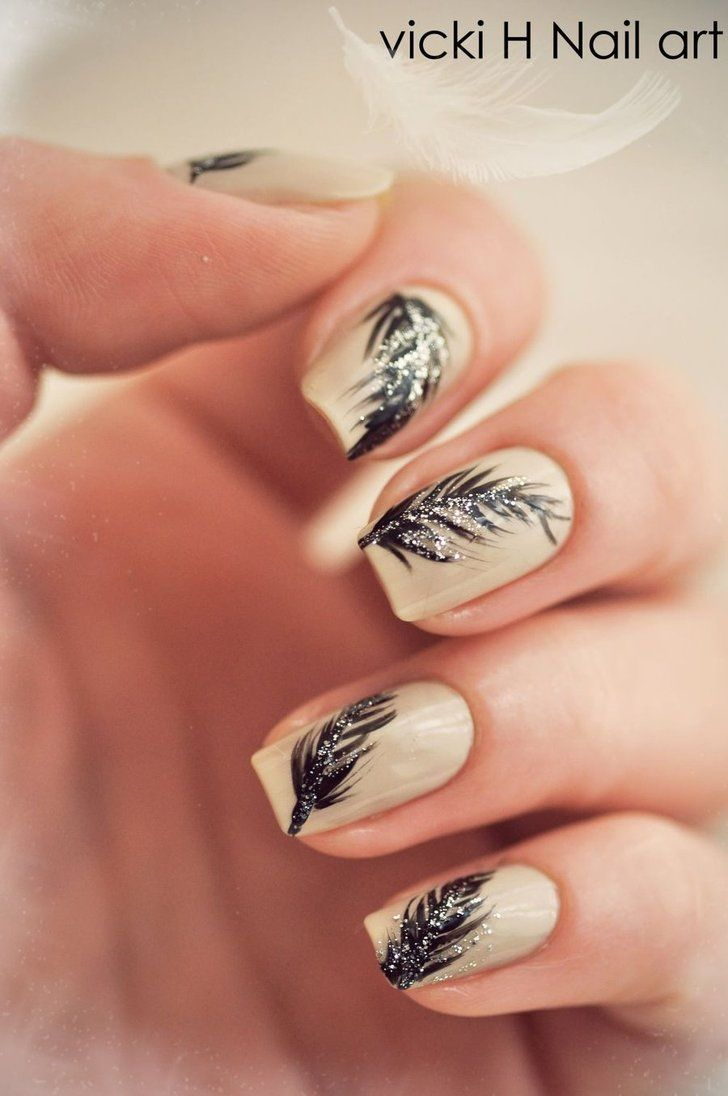 Nail Art Ideas nail art online store : Feather Nail Art Design see more designs on online nail dryer ...