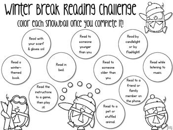 Reading Challenge for Winter Break and Christmas Break