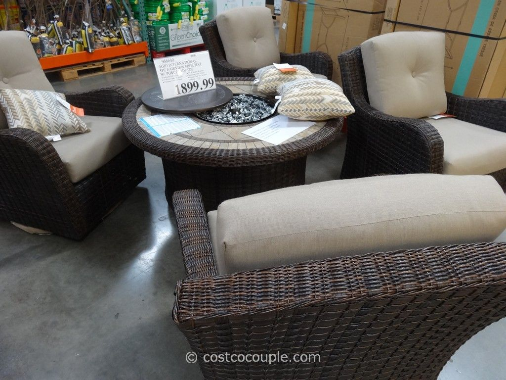 Fire Pit Table And Chairs Costco Zero Gravity Lounge Chair Agio International 5 Piece Fairview Firechat Set