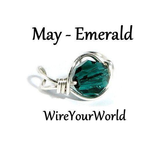 May Birthstone Emerald Silver Ear Cuff or choose by WireYourWorld