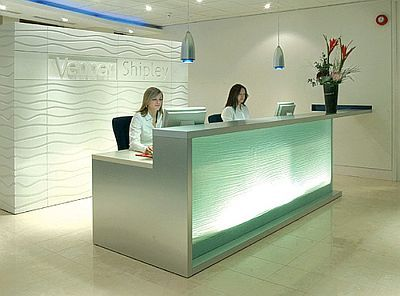 Dual surface height with back wall Office DesignReception