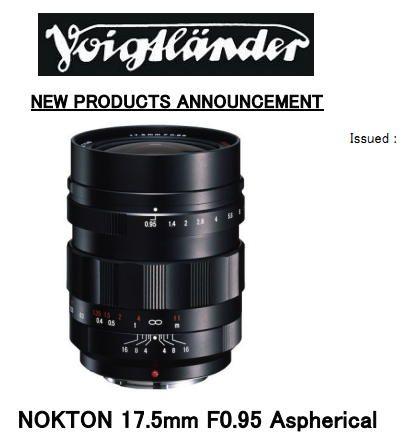 New Voigtlander Micro Four Thirds Lens Announced The 17 5mm 0 95 Nokton Mft Lens 5mm Micro