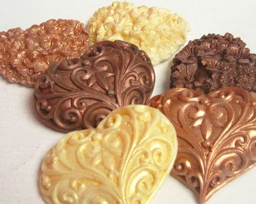 Heart Soaps in Copper, Gold and Mocha #handmade