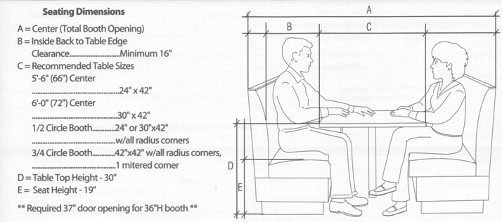 Seating Dimensions Restaurant Booth Seating Restaurant Booth