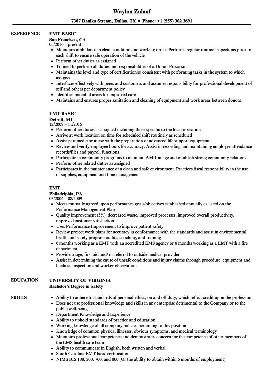 Emergency Medical Technician Basic Resume in 2020